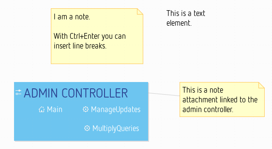 Note, text and note attachment elements